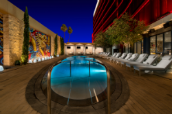 The pool offers a strikingly laid-back atmosphere.