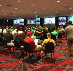 The setup at The D in downtown Las Vegas for March Madness was perfect for all-day viewing.
