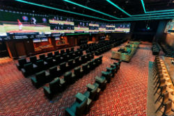 The sportsbook features six live tellers, 18 kiosks and 196 seats.
