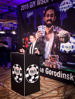 WSOP Tournament Director Jack Effel kicks off the proceedings every day at the Rio during the Main Event.