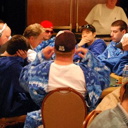 Yes, those are players wearing Snuggies.